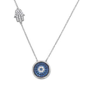 Jewelry - Sterling Silver Rhodium Plated Evil Eye Necklace W